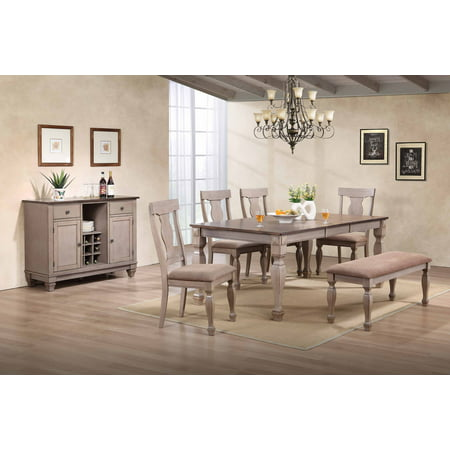 Joanna 7-Piece Dining Set, Brown Wood & Fabric, Transitional, (Extendable Table, 4 Fiddleback Chairs, Bench & Buffet Server) ()