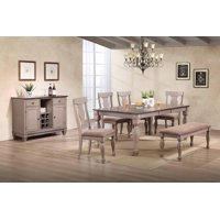 Joanna 7-Piece Dining Set, Brown Wood & Fabric, Transitional, (Extendable Table, 4 Fiddleback Chairs, Bench & Buffet Server)
