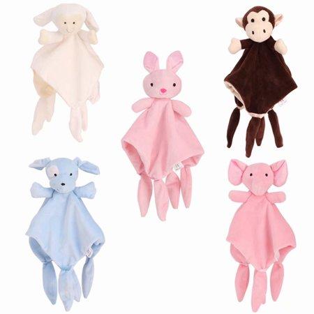 Infant Baby Toddler Comfort Cotton Security Blanket Terry Animal Towel,Pink Elephants