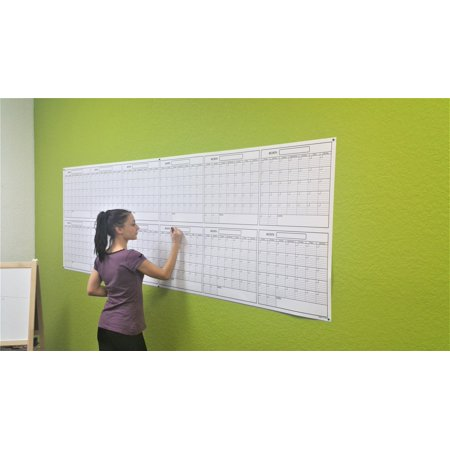 """SwiftGlimpse 36"""" x 100"""" Large Jumbo Oversized Erasable Laminated Blank Annual Yearly Wall Calendar Poster, 12 Months, Reusable for Office, Academic or Home w/ FREE Erasable Marker"""