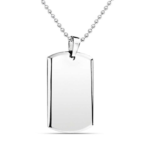 Dog Tag Pendant Necklace For Men Engravable Beveled Edge Polished Silver Tone Stainless Steel Bead Ball Chain 24 inch - Custom Dog Tag Necklace