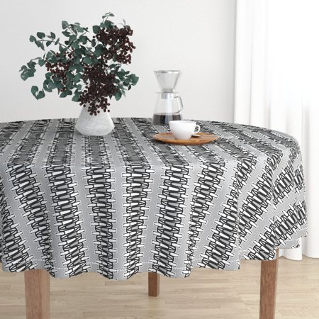 Round Tablecloth Stripes Geometric Black White Gray Large Scale Cotton Sateen Aristo Craft Large Scale