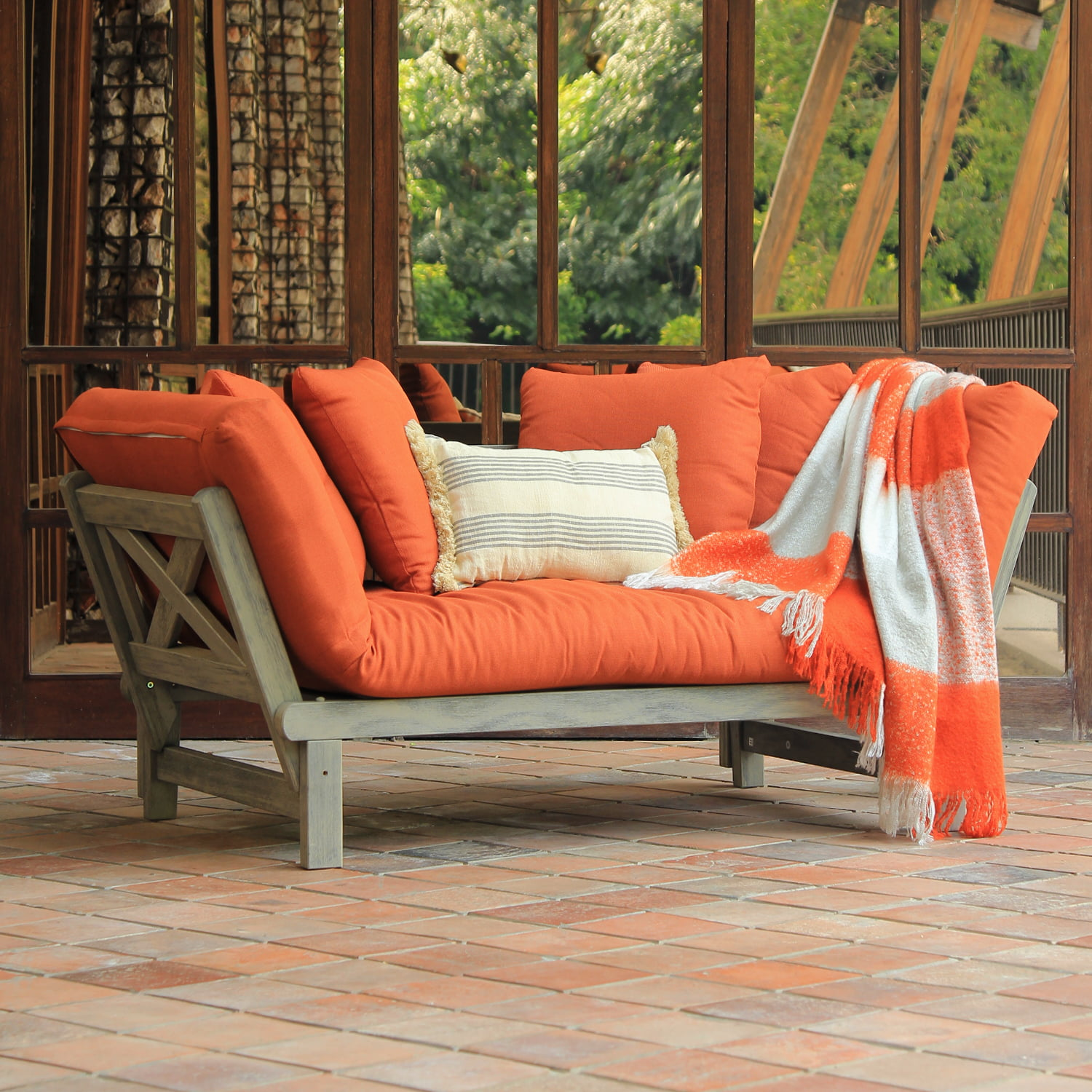 Westlake Solid Wood Outdoor Convertible Sofa Daybed with ...