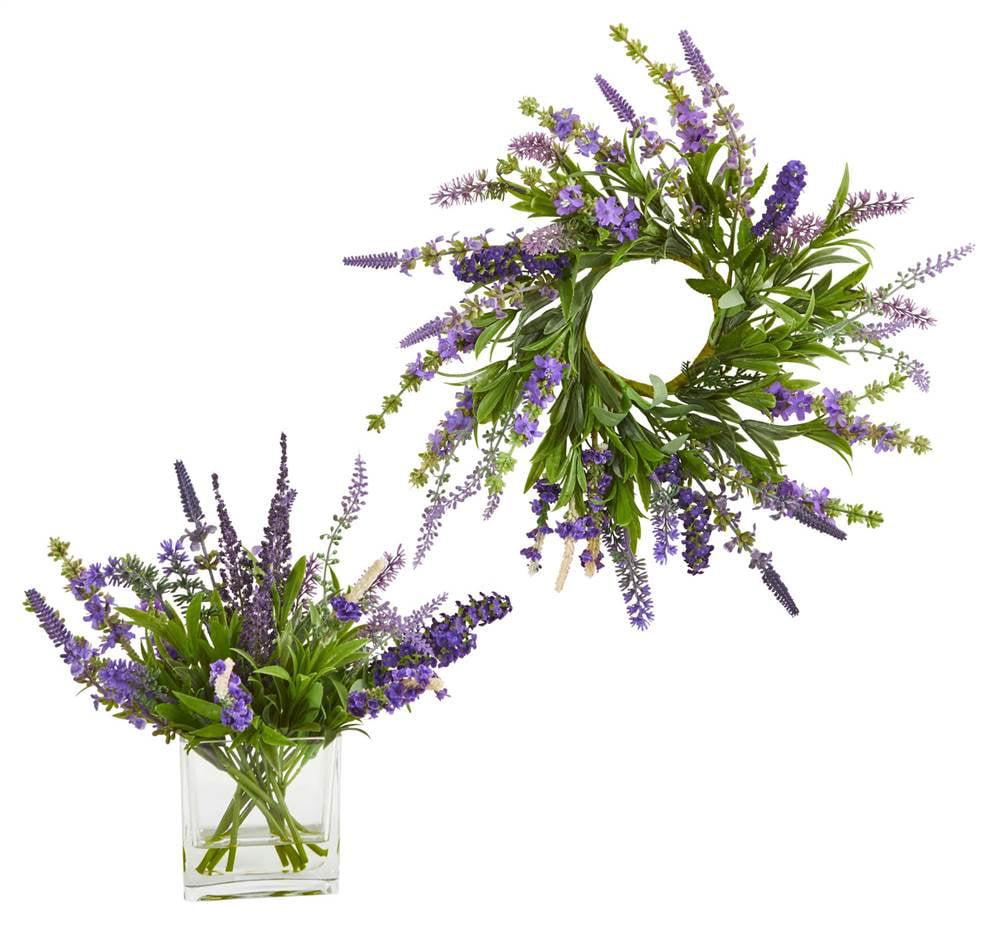 12'' Lavender Arrangement and 14 Lavender Wreath (Set of 2)