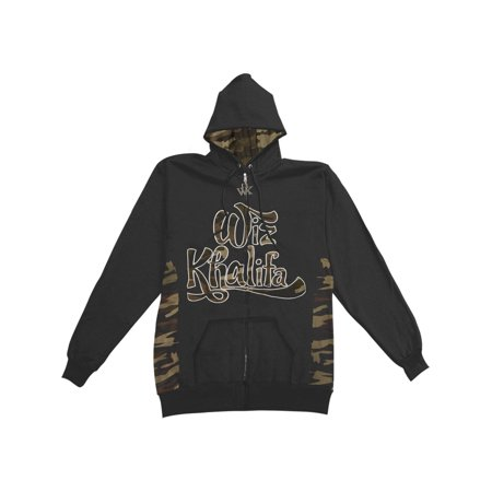 Wiz Khalifa Men's  Expert With Camo Panel Details Zippered Hooded Sweatshirt