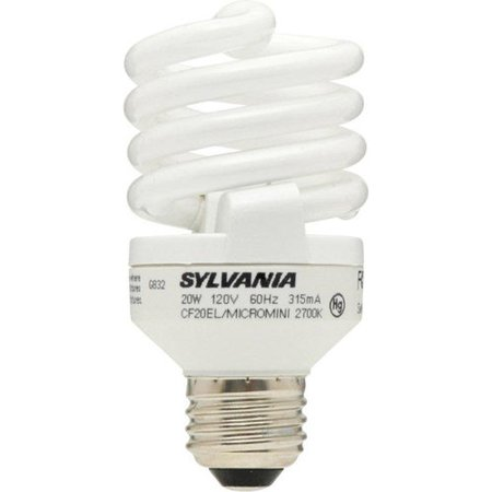 Sylvania 20W CFL Micro Mini Twist Light Bulb, Soft White, 2pk (20w Cfl)