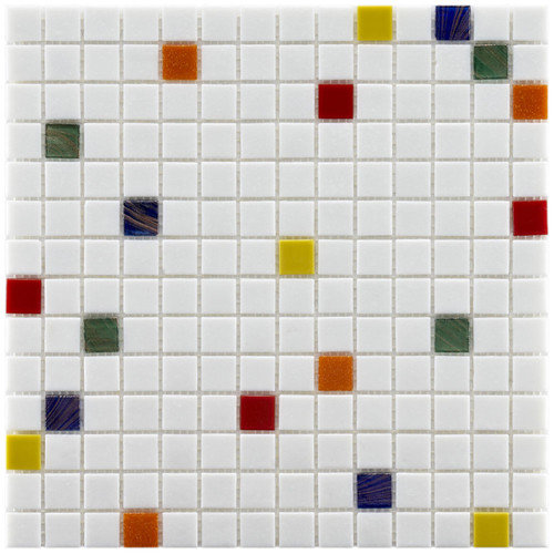 EliteTile Fused Glass 12'' x 12'' Polished Glass Mosaic in Happy