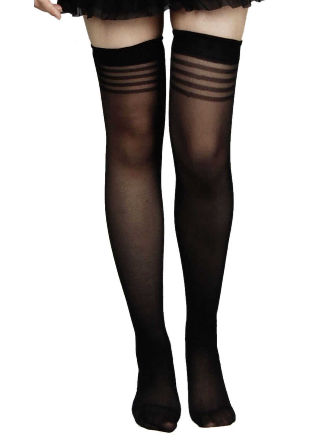 537173b8204 Woman Stretchy Sheer Sexy Thigh High Socks Stockings Black