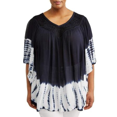 Women's Plus Size Crinkle Rayon Dip Dye Poncho