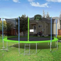 16' Round Trampoline for Kids, New Upgraded Outdoor Trampoline with Safety Enclosure Net, Basketball Hoop and Ladder, Heavy-Duty Trampoline for Indoor or Outdoor Backyard, Capacity 375lbs, L4733
