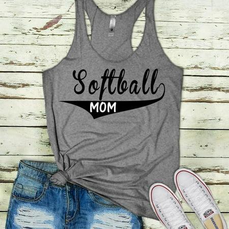 Women Funny Letter Print Softball Mom Tank Tops