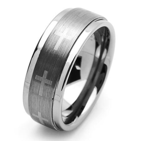 Men's Tungsten Carbide Wedding Band Ring 9mm Comfort Fit Cross Engraved For Men & (Engraving For Men)