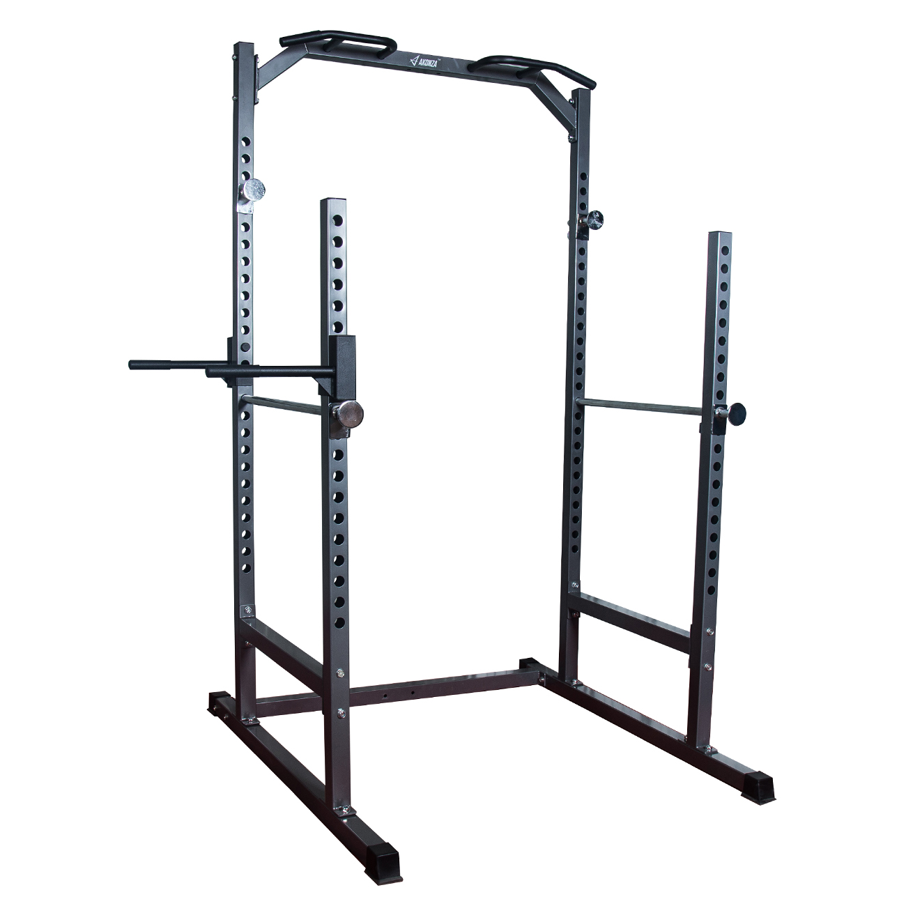 AKONZA Heavy Duty Half Power Cage Dip Station Squat Rack Bench Pull Up Chin-Up Training, Gray