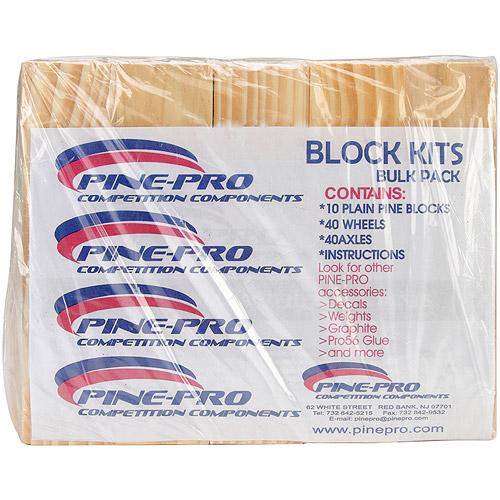 Pine Car Derby Bulk Pack Kits W/Wheels & Axles, Block