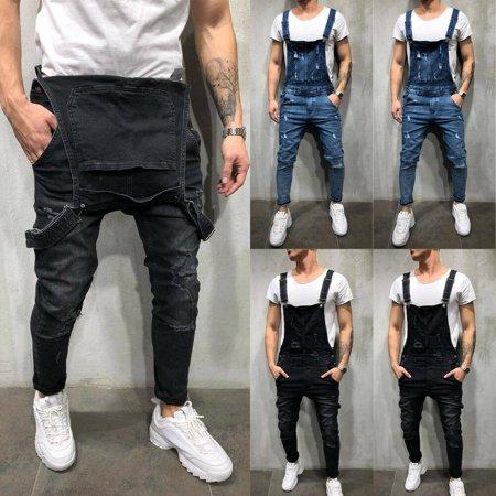 SUNSIOM Classic Fashion Men's Denim Overalls Slim Fit Jumpsuits Bib Pants Skinny Jeans ()