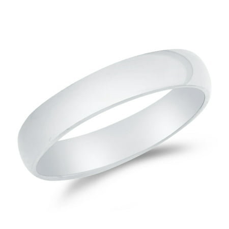 14k White Gold Solid 4mm CLASSIC FIT Plain Traditional Wedding Band Ring , Size 8.5