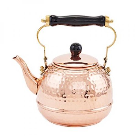 Solid Copper Designer Pendant - Old Dutch Solid Copper Hammered Teakettle with Wood Handle and Knob, 2-Quart