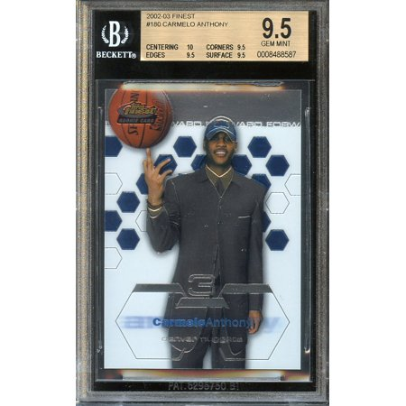 2002 03 Finest  180 Carmelo Anthony Nuggets Rookie Card Bgs 9 5  10 9 5 9 5 9 5