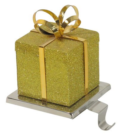 Northlight Glittered Gift Box Shaped Christmas Stocking Holder ()
