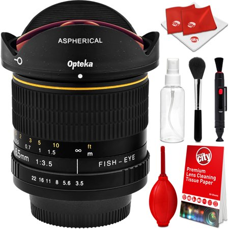Opteka 6.5mm f/3.5 HD Aspherical Wide Angle Fisheye Lens with Optical Cleaning Kit for Nikon D7500, D7200, D7100, D7000, D5500, D5300, D5200, D5100, D3400, D3300, D3200 and D3100 Digital SLR (Best Wide Angle Lens For D7000)
