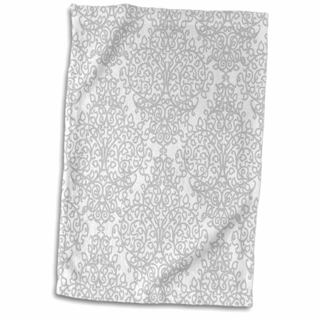 Silver Patterned Round Dial - 3dRose Grey and white damask - gray elegant swirls - silver swirling Victorian stylish traditional pattern - Towel, 15 by 22-inch