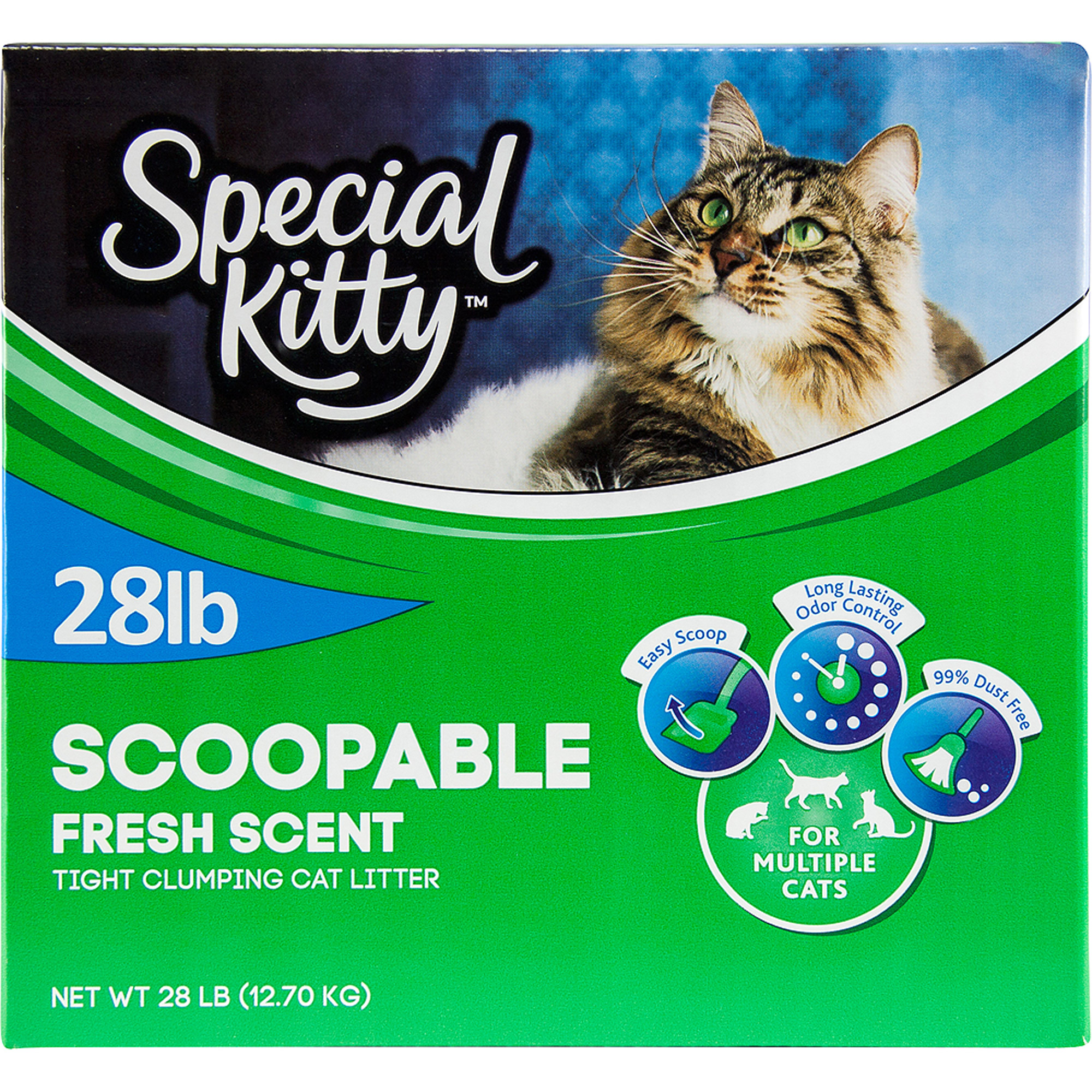 Special Kitty Scoopable Tight Clumbing Cat Litter, Fresh Scent, 28 lb