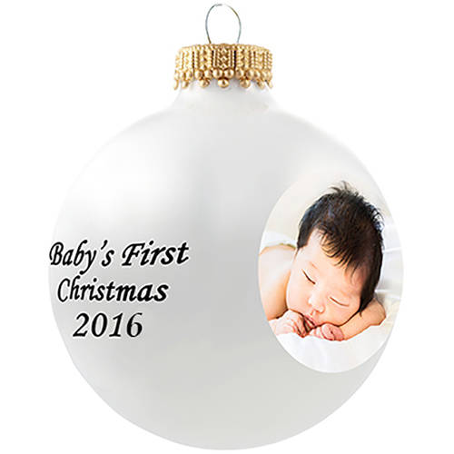 Glass Photo Ornament - Baby's First Christmas