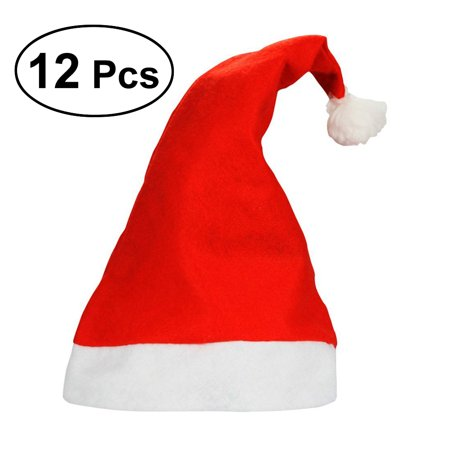 12PCS Christmas Fancy Dress Party Wear Hat Cute Santa Claus Hat Xmas Cap for Children Adults Novelty Ornaments Christmas Costume Decoration Kids Gifts