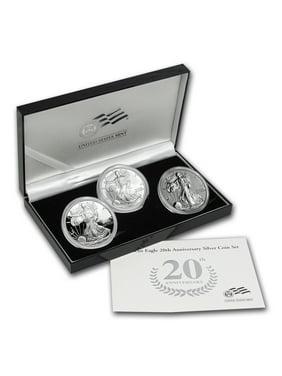 2006-W 3-Coin Proof Silver Eagle Set (20th Anniv, w/Box & COA)