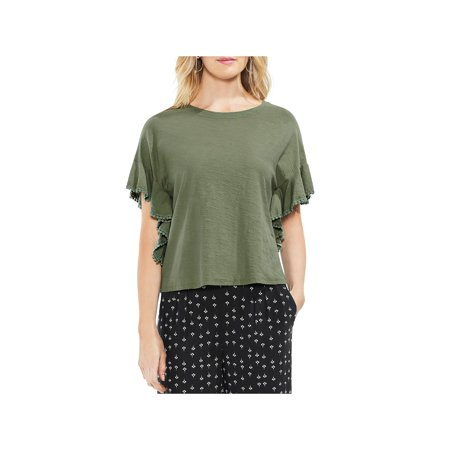 Vince Camuto Womens Cotton Ruffle Sleeve Pullover Top