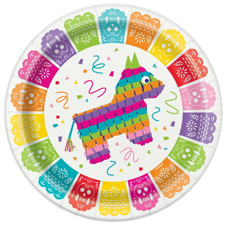 Mexican Fiesta Paper Dinner Plates, 9in, 8ct