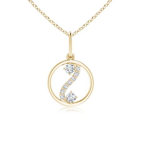 Valentine Jewelry gift - Two Stone Diamond Open Circle Swirl Pendant in 14K Yellow Gold (1.8mm Diamond) - SP0879D-YG-GVS2-1.8 14k Gold Diamond Circle Pendant