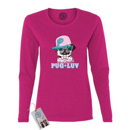 pug luv dog lover hipster pug summer womens long sleeve shirt