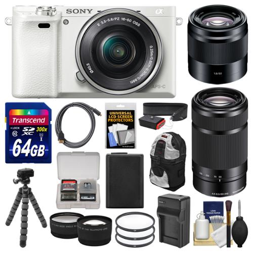 Sony Alpha A6000 Wi-Fi Digital Camera & 16-50mm (White) with 55-210mm & 50
