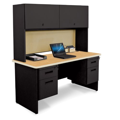 Marvel Office Furniture Pronto Double File and Flipper Door Cabinet Computer Desk with Hutch by Marvel Office Furniture