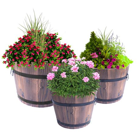 - Set of 3 Extra Large Wooden Whiskey Barrel Planters