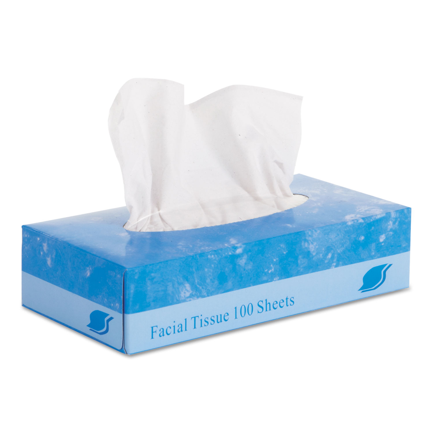 "Facial Tissue, Flat Box, 2-Ply, 8"" x 8.3"", 100/Box, 30 Boxes/Carton"