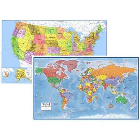 (24x36 World and USA Classic Premier 3D Two Wall Map Set - Folded Paper)
