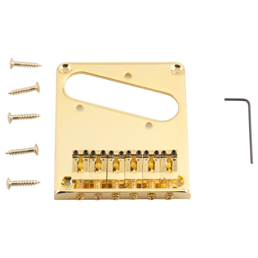 Seismic Audio Gold Tele-Style Hardtail Bridge for Tele Style Electric Guitars Gold - SAGA26