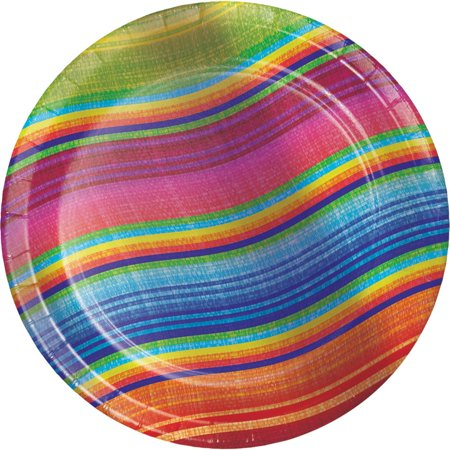 Club Pack of 96 Multi-Colored Serape Curved Striped Luncheon Party Plates 7