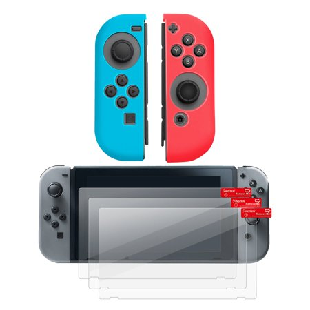 Insten (Left BLUE + Right RED) Nintendo Switch Joy-Con Cover Anti-Slip Skin + 3-pack LCD Guard For Nintendo Switch Joy Con Left/Right Controller