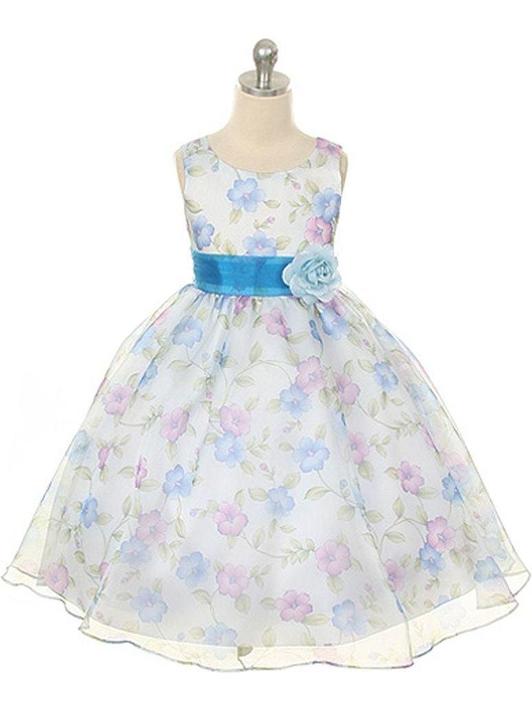 Kids Dream Little Girls Royal Blue Organza Floral Easter Dress 2T-12