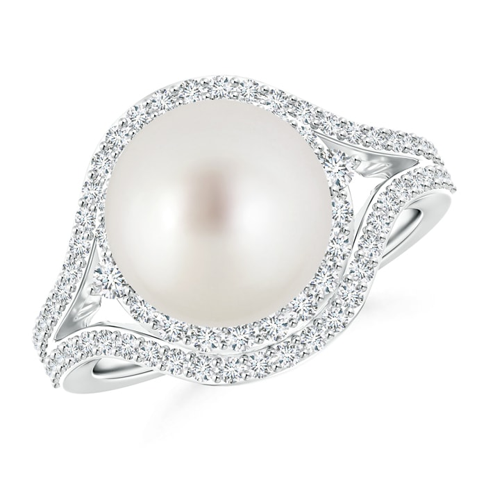 Angara South Sea Cultured Pearl and Diamond Split Shank Ring MPSYf