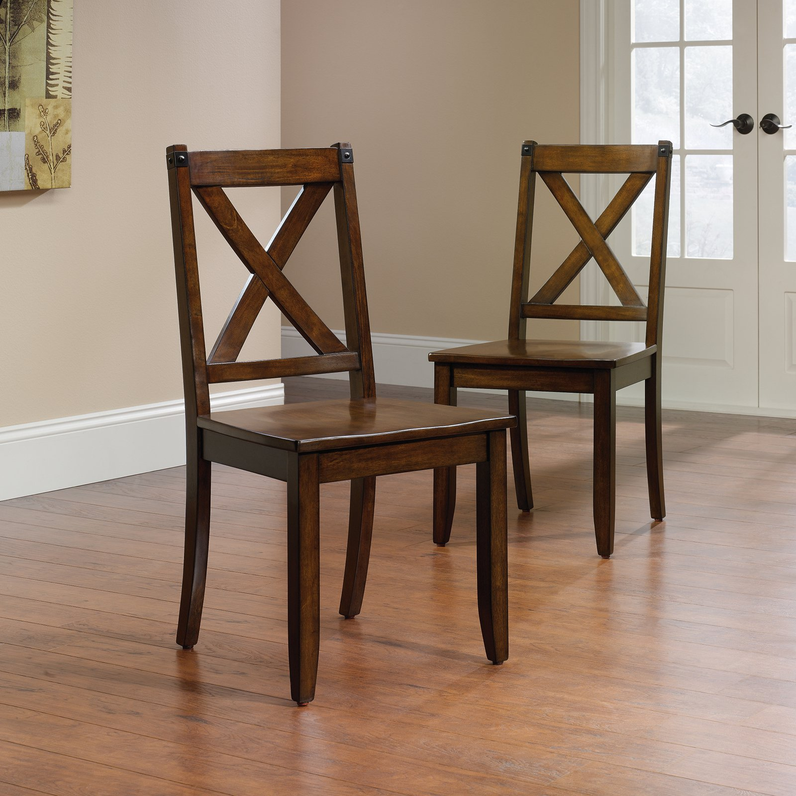 Sauder Carson Forge X Back Chairs, 2 Pack, Mahogany Finish