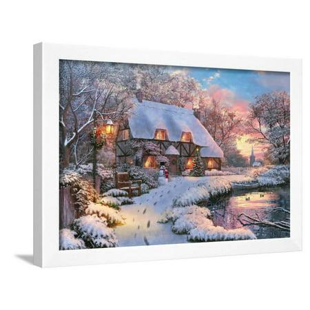 Winter Cottage - Winter Cottage Framed Print Wall Art By Dominic Davison