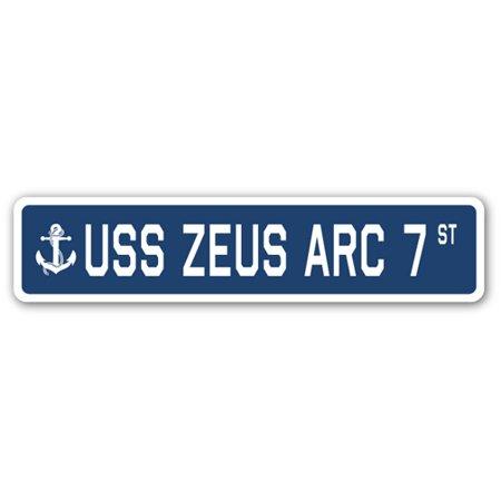 USS ZEUS ARC 7 Street Sign us navy ship veteran sailor gift (Zeus Bindings)