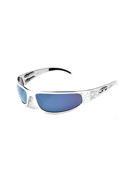 ICICLES Baby Bagger Blue Mirror Lens Sunglasses with Silver Flames Frame