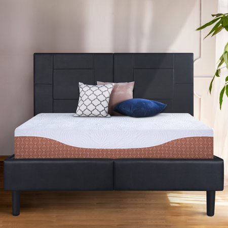 """GranRest 14"""" Dura Metal Faux Leather Platform Bed Frame, Full Size"""