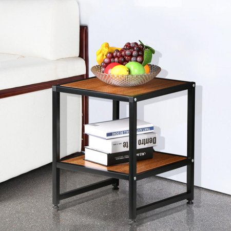 Yaheetech 2 Tier 15 Brown Square Wood Coffee Table Metal