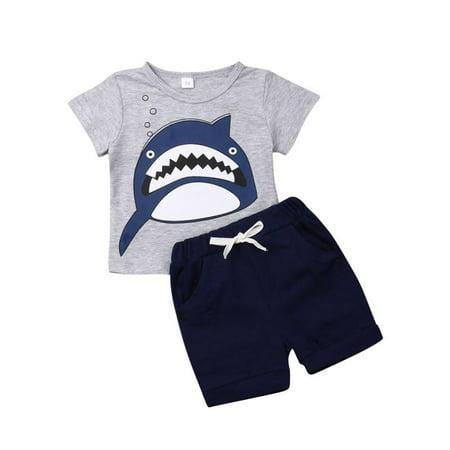 Toddler Baby Boys Infant Shark T-shirt+Short Pants Outfit - Shark Hunter Outfit